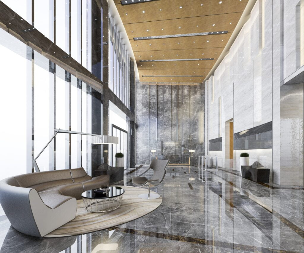 grand luxury hotel reception hall entrance and lounge restaurant with high ceiling